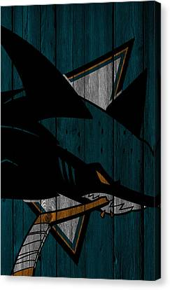 San Jose Sharks Wood Fence Canvas Print by Joe Hamilton