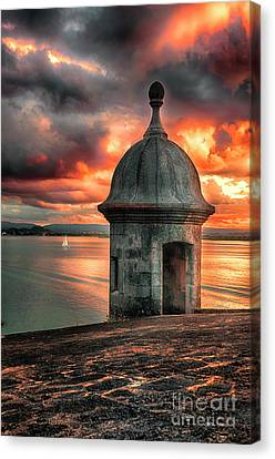 San Juan Bay Sunset With A Sentry Post Canvas Print