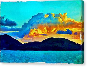 Canvas Print featuring the painting San Juan Seascape by Joan Reese