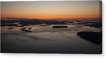 San Juans Islands Aerial Sunset Calm Dusk Canvas Print