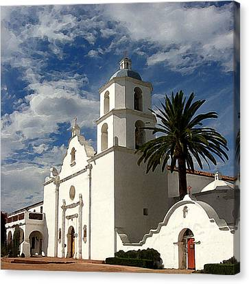 Canvas Print featuring the digital art San Luis Rey by Timothy Bulone