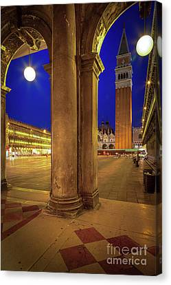San Marco At Night Canvas Print by Inge Johnsson