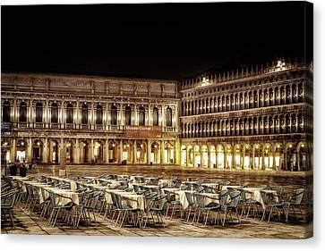 San Marco Cafes At Night Canvas Print by Andrew Soundarajan