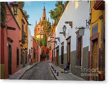 Streetlight Canvas Print - San Miguel Calle Bonita by Inge Johnsson