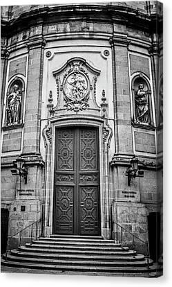 San Miguel Portal Madrid Spain Bw Canvas Print by Joan Carroll