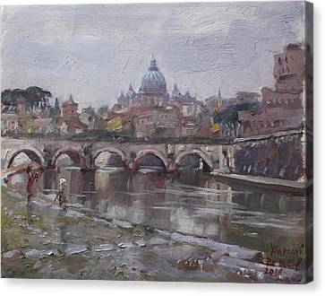 Rainy Day Canvas Print - San Pietro In A Rainy Day Rome by Ylli Haruni