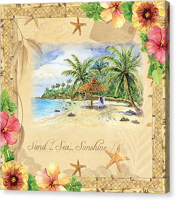 Sand Sea Sunshine On Tropical Beach Shores Canvas Print