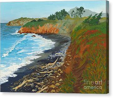 Canvas Print featuring the painting San Simeon Ca Coast by Katherine Young-Beck