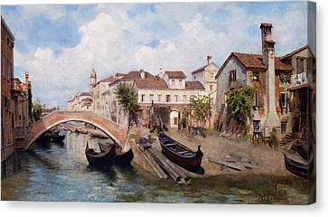 San Trovaso Boatyard In Venice Canvas Print by Michele Gordigiani