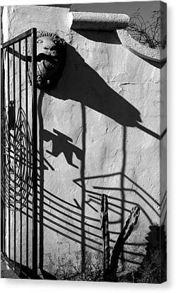 San Xavier Gate Shadow With Cactus 2 Bw Canvas Print by Mary Bedy