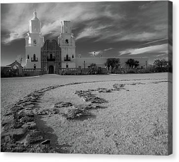 San Xavier Mission Clouds Canvas Print by Jim Harris