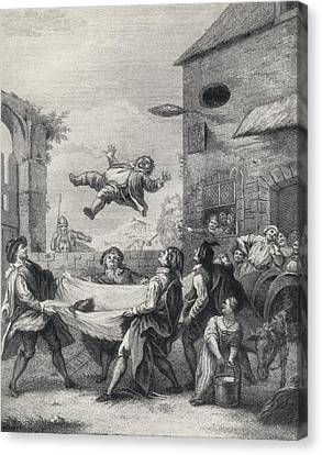 Sancho Panza Tossed In A Blanket By A Canvas Print by Vintage Design Pics