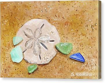 Sand Dollar And Beach Glass Canvas Print