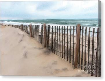 Sand Dune Fence On Outer Banks Ap Canvas Print