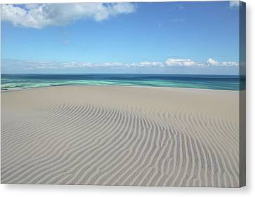 Sand Dune Ripples And The Ocean Beyond Canvas Print