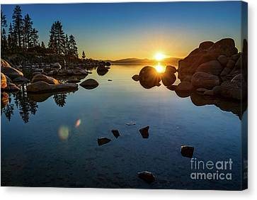 Water Reflections Canvas Print - Sand Harbor Sunset by Jamie Pham