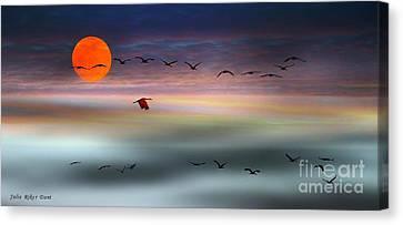 Sand Hill Cranes At Moonrise Canvas Print