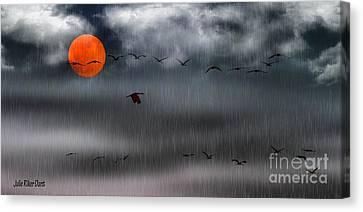 Sand Hills Flying In The Rain Canvas Print by Julie Dant