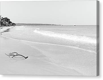 Sand Meets The Sea In Black And White Canvas Print