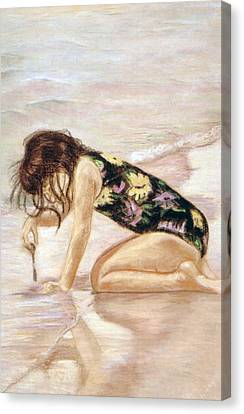 Sand Puddles Canvas Print by Gladiola Sotomayor