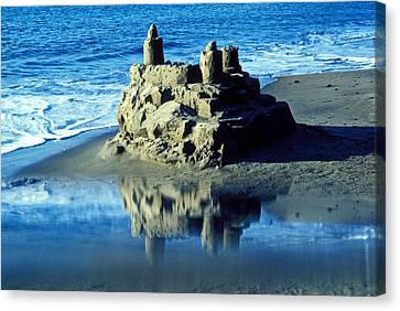 Sandcastle On Beach Canvas Print by Garry Gay