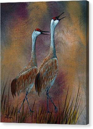 Sandhill Crane Duet Canvas Print by Dee Carpenter