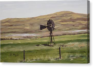 Sandhills Windmill Canvas Print by Alan Mager