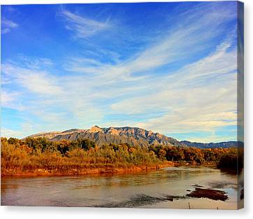 Sandia Mountains As Seen From Corales Canvas Print