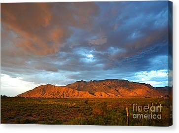 Sandia Mountains Colorful Sunset Canvas Print by Andrea Hazel Ihlefeld