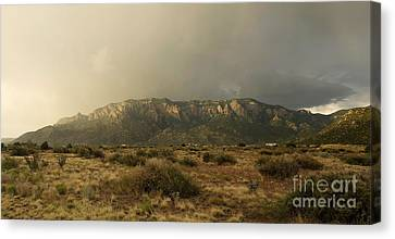 Sandia Mountains In Evening Storm Canvas Print