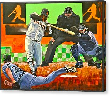 Pablo Sandoval Canvas Print - Sandoval's First Of Two Off Verlander  by Robert Marosi Bustamante