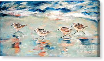 Sandpipers Running Canvas Print by Linda Olsen