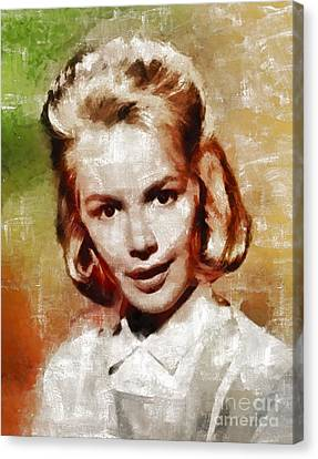 Sandra Dee, Vintage Actress By Mary Bassett Canvas Print by Mary Bassett