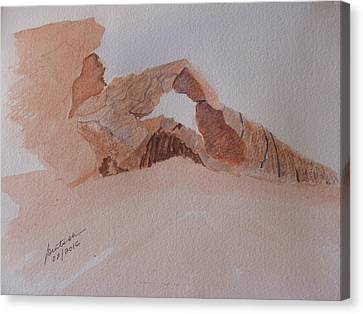 Canvas Print featuring the painting Sandstone Arch - Valley Of Fire  by Joel Deutsch
