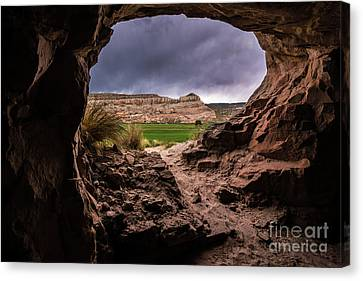 Canyon Country Canvas Print - Sandstone Cave In Stormy Weather - Moab - Utah by Gary Whitton