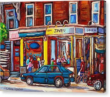 Sandwich Shop Montreal Memories Java U Original Street Scene Painting Canadian Art Carole Spandau    Canvas Print by Carole Spandau