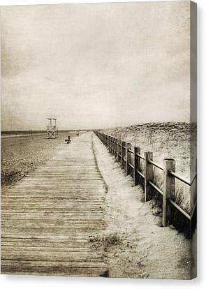 Sandy Beach Pathway - Milford Ct. Canvas Print by Joann Vitali