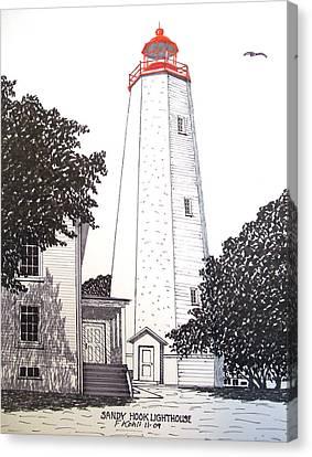 Sandy Hook Lighthouse Drawing Canvas Print by Frederic Kohli