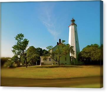 Canvas Print featuring the photograph Sandy Hook Lighthouse by Iconic Images Art Gallery David Pucciarelli