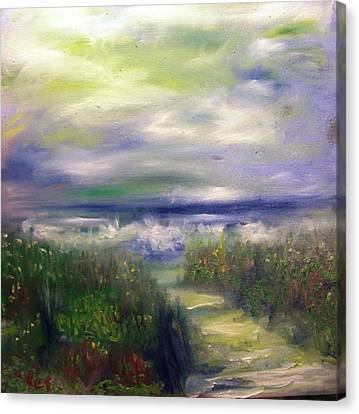 Patricia Taylor Canvas Print - Sandy Path To The Beach Painting by Patricia Taylor