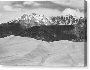 Sangre De Cristo Mountains And The Great Sand Dunes Bw Canvas Print by James BO  Insogna