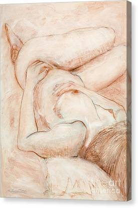 Canvas Print featuring the drawing Sanguine Nude by Kerryn Madsen-Pietsch