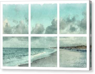 Sanibel Island Canvas Print - Sanibel Island Bowman Beach Watercolor Grid by Edward Fielding