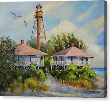 Seagulls Canvas Print - Sanibel Lighthouse by Dianna  Willman