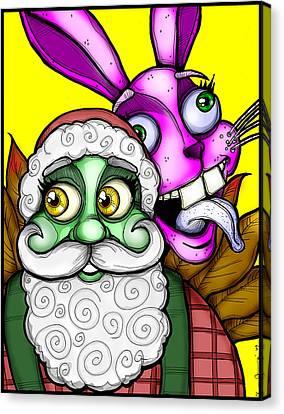 Santa And Bunny Canvas Print by Christopher Capozzi