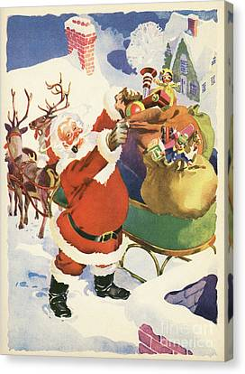 Christmas Eve Canvas Print - Santa And His Bags Of Toys On Christmas Eve by American School