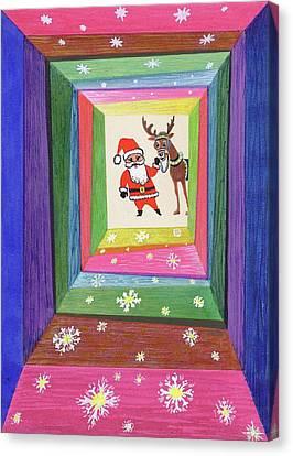 Santa And His Reindeer Canvas Print