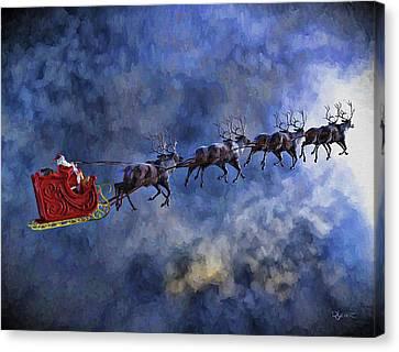 Santa And Reindeer Canvas Print by Dave Luebbert