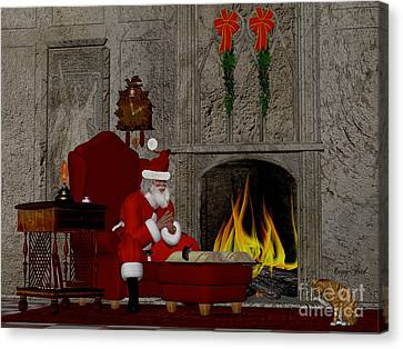 Santa And The Naughty And Nice Book Canvas Print by Corey Ford