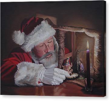 Santa At The Nativity Canvas Print